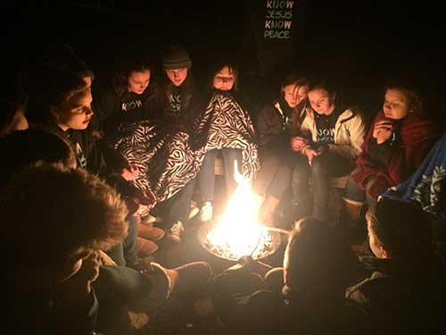 Bonfire at teen camp